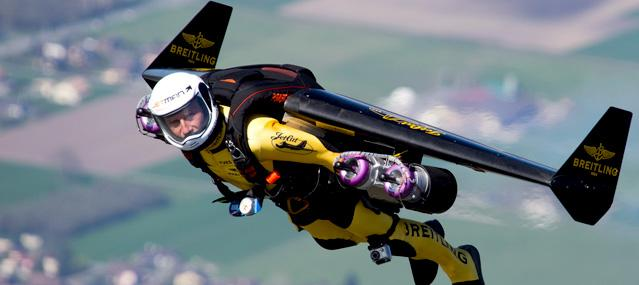 Yves 'Jetman' Rossy with jetpack